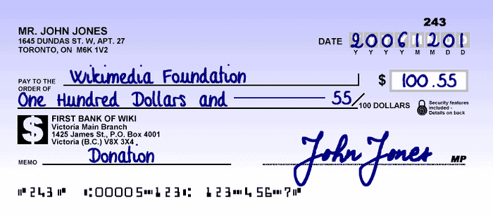 Canadian Cheque 2006